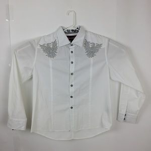 House of Lords dragon emboss white flip-up shirt